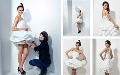 Little white party dresses made from Kleenex® Cottonelle® toilet paper ~ Anything But Clothes