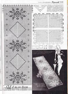 Home Decor Crochet Patterns Part 135 - Beautiful Crochet Patterns and Knitting Patterns Crochet Table Runner, Crochet Tablecloth, Crochet Doilies, Crochet Puff Flower, Crochet Round, Filet Crochet Charts, Crochet Diagram, Diy Crafts Crochet, Crochet Home