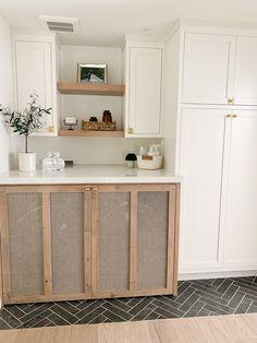 A Hidden Hallway Laundry Nook – G A T H E R H O U S E . Hidden Laundry Rooms, Pink Laundry Rooms, Laundry Nook, Modern Laundry Rooms, Laundry Room Cabinets, Laundry Room Design, Oak Floating Shelves, Laundry Room Inspiration, Small Closets