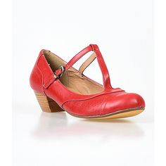 Red Souffle T-Strap Mary Jane Kitten Pumps ($65) ❤ liked on Polyvore featuring shoes, pumps, red, red pumps, t strap mary janes, red mary janes, red mary jane shoes and oxford pumps