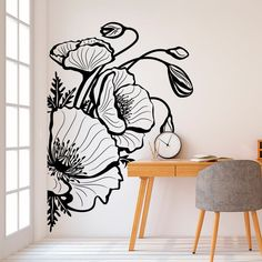 Cute college dorm decorations can be hard to find without spending your whole paycheck. Don't worry, here are 25 cute decor ideas for inspiration! Flower Wall Stickers, Vinyl Wall Stickers, Vinyl Wall Decor, Wall Art Designs, Wall Design, Bedroom Designs, Design Design, Design Hotel, Interior Design