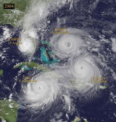 This was my first year living in florida. Composite satellite image of 4 hurricanes in Florida in August and Sept. of photo by Univ. Wisconsin-Madison, Space Science and Engineering Center. All Nature, Science And Nature, Amazing Nature, Florida Girl, Old Florida, Florida Living, Tornados, Severe Weather, Extreme Weather