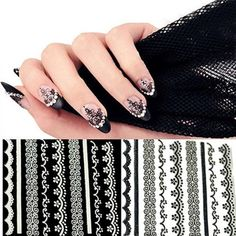 Material: Acrylic 2 Colors Available: White, Black Sheet Size: 6.3 x 5.3cm/2.5 x 2.1 inch (Approx) Quantity: 30pcs/set Item: Nail Sticker Pattern: Lace No glue required, just peel off and stick on Adhesive nail art stickers to fit all fingernails, toenails and nail tips Please note the false nail tips are not included How to use: Choose the design and peel it off. Place it on nail or nail tip and rub gently You can apply top coat for a best result