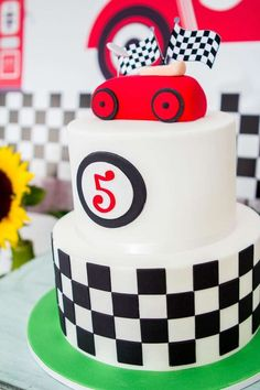 Awesome cake at a race car birthday party! See more party ideas at CatchMyParty.com!