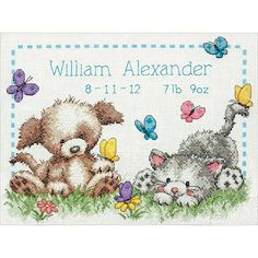 Dimensions Counted Cross Stitch Kit - Pet Friends Baby Birth Record at HSN.com