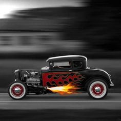 Afternoon Drive: Hot Rods & Rat Rods Photos) - A hot rod is a specific type of automobile that has been modified to produce more power for racing straight ahead. The hot rod originated in the early. Karting, Classic Hot Rod, Classic Cars, Vintage Cars, Antique Cars, Traditional Hot Rod, Pt Cruiser, Us Cars, Street Rods