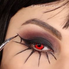 Who's ready for Halloween??  Throwback to last year  Spider  web makeup!   TAG A FRIEND who might like this!   Deets-  @tartecosmetics #tarteist liner   @anastasiabeverlyhills single shadows   @camoeyes contacts  brushes from @morphebrushes (code PINKP) & @sigmabeauty (code PINKPSB )  @shadowshields under the eyes  #halloween #halloweenmakeup# halloweentutorial#halloween2017#spidermakeup#mua#maccosmetics#tartecosmetics