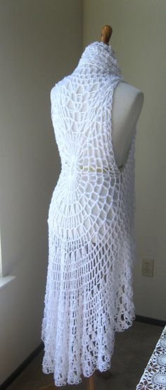 WHITE CROCHET VEST Fit Any Size Long Crochet Vest by marianavail