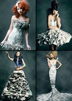 Wearable Art, Jennifer Lynn, Artist and Wardrobe Stylist, http://www.lynnjenni.com/stylist/, Buck Holzemer, Photographer,  http://www.buckh.com/#a=0=0=1=0=5=0=-1 Fashion, Newsprint Dresses