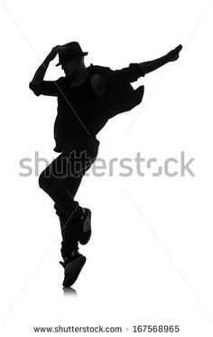 silhouette of male dancer isolated on white - stock photo