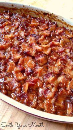 South Your Mouth: Southern Style Baked Beans (add sauted onion & bell 1/8 cup each. 2 tall cans bushes veg.)
