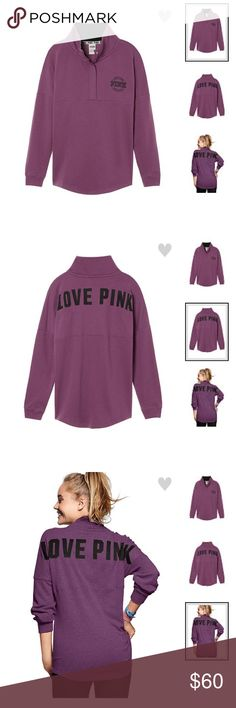 Victoria's Secret PINK Varsity Quarter Snap Only selling the purple colored one. Size xs color Color Mauve Mist PINK Victoria's Secret Tops Sweatshirts & Hoodies