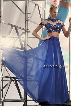 Lace and chiffon two piece prom dress 2437 from Alyce has a fitted crop top with cap sleeves and flowing long skirt. One of a kind chiffon two piece by . New Years Eve Dresses, Prom Dresses 2015, Prom Party Dresses, Evening Dresses, Formal Dresses, Prom 2015, Prom Gowns, Occasion Dresses, Wedding Dresses