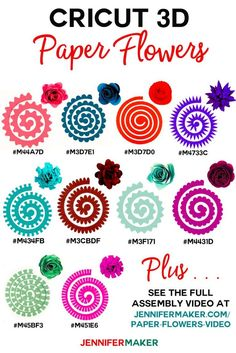 Cricut Paper Flowers - All 10 flowers with cut shape, finished flower, and Design Space codes! Blumen Cricut Paper Flowers - All 10 flowers with cut shape, finished flower, and Design Space codes! 3d Paper Flowers, Rolled Paper Flowers, Felt Flowers, Diy Flowers, Paper Butterflies, Paper Flower Art, Potted Flowers, Flower Svg, Flower Ideas