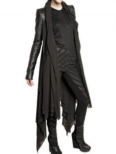 Gareth Pugh Leather Sleeves Silk Chiffon Coat in Black - Lyst
