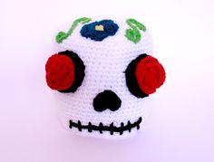 Sugar skull crochet beanie adult Day Of The Dead  hat. $32.00, via Etsy.