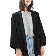 Women's Topshop Suzie Jacquard Jacket ($100) ❤ liked on Polyvore featuring outerwear, jackets, black, floral kimono jacket, floral blazer jacket, topshop blazer, open front blazer and floral print kimono