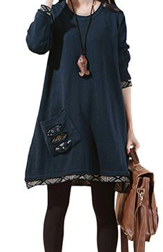 Voguees Women's Knitted Sweater Tops Knitwear Dress Blue (One Size) Voguees http://www.amazon.co.uk/dp/B00ZQTDMKU/ref=cm_sw_r_pi_dp_av1mwb0YRBK21