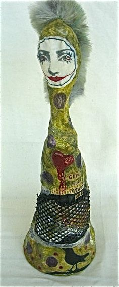 """Punk Chic Mixed Media Art Doll Sculpture with words """"Give Your Heart Out"""" by BebeTheCircusQueen,"""