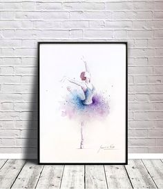 Ballerina Art Print Purple Blue Tutu Ballerina Artwork