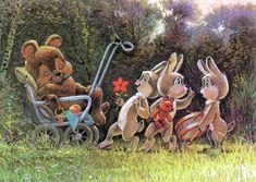 Зайцы пришли поздравлять Мишку с Днем Рождения Старые Поздравительные Открытки, Старинные Карты, Иллюстрации Кроликов, Дизайн С Окрашиванием, Старинные Карты, Винтаж Открытки, Пасхальные Поделки, Подгузники, Медведи