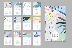 Ad: 2019 calendars + planners by Lera Efremova on Joyful creative pack with Calendars 2019 and Planners. 12 different art calendars 2019 Pocket, desk, wall calendars. Trendy patterns makes Calendar Layout, Pocket Calendar, Art Calendar, 2019 Calendar, Event Calendar, Wall Calendars, Office Calendar, Calendar Ideas, Kalender Design