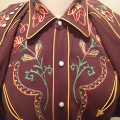 California Ranchwear Brown Embroidered Western Shirt by AntiguaNM Vintage Western Wear, Vintage Cowgirl, Cowboy And Cowgirl, Cowgirl Style, Cowgirl Shirts, Cowboys Shirt, Western Shirts, Cowboy Outfits, Western Outfits