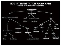 EKG interpretation flowchart omg this is the easiest way ever. i can't believe i haven't seen this dang thing yet! or made it myself! *facepalm*