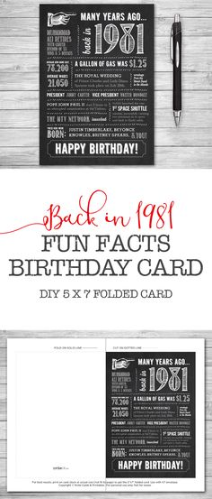 #35th Birthday, Printable Card, 5x7 Folded, Many Years Ago Back in 1981, Instant Digital Download, DIY Print at Home by #NviteCP