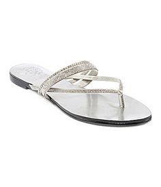 eb3b668319fd8f Vince Camuto Evora Jewled Flat Thong Sandals Silver Fabric upper Round  open-toe flat thong sandals with rhinestone accents heel Man-made sole Vince  Camuto ...