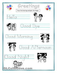 Greetings for kids worksheet - Free ESL printable worksheets made by teachers