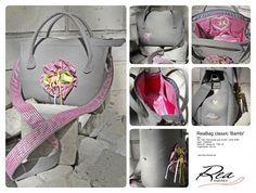ReaBag classic 'Bambi' -- Mini - Filz 100% Schurwolle grau & pink - reine Seide - Satin - Edelstahl - Höhe 20 - Breite 25 - Tiefe 16 - Trageriemen 125 cm