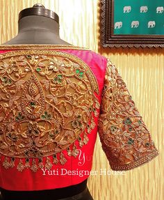 New embroidery blouse designs indian fashion crop tops ideas Etsy Embroidery, Embroidery Fashion, Embroidery Dress, Embroidery Blouses, Simple Embroidery, Embroidery Designs, Blouse Designs Silk, Bridal Blouse Designs, Cut Work Blouse