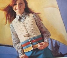 Lace-fastening waistcoat.  Child's crochet vest.  Family Crochet: seasonal styles for all occasions.  Pamela Smythe