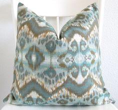 Decorative pillow cover - Ikat pillow - 20x20 - Teal - Gold - Ikat Glam Ikat in Peacock - Throw pillow