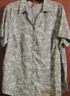 Womens Whit Stag 2XG (20) Lt.Green Leaf Cotton Short Sleeve Gauzy Blouse #WhiteStag #Blouse #Casual