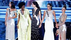 From left, final five finalists Miss Colombia Laura Gonzalez, Miss Jamaica Davina Bennett,. Miss Universe Crown, Demi Leigh Nel Peters, Miss Colombia, World Winner, Miss Venezuela, Planet Hollywood, Miss World, Beauty Pageant, Formal Dresses