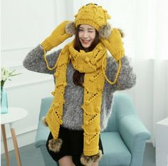 Women deer knit hat scarf and gloves set for winter wear