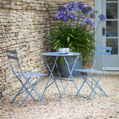Rives Bistro Table Set with 2 Chairs - Dorset Blue - Garden Furniture - Furniture - Furniture Garden Seating, Garden Chairs, Small Garden Table And Chairs, Garden Beds, Outdoor Tables And Chairs, Outdoor Furniture Sets, Patio Tables, Blue Garden Furniture, Backyard Furniture
