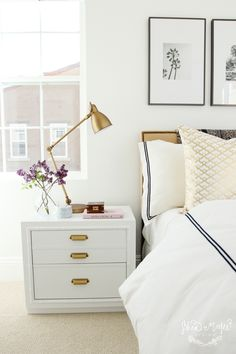 Shea McGee Design_Guest Room_tan gold and black bedding