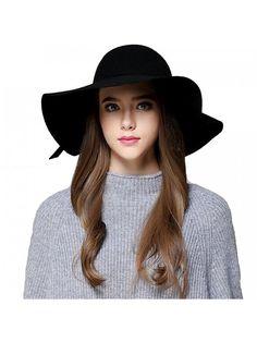 be936bd56d3 Women s Foldable Wide Brim Beach Retro Fedora Floopy Wool Felt Hat - Black  - CY187QGHIX0