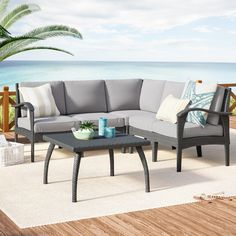 Beachcrest Home Townsend V-Shape 6 Piece Sectional Seating Group with Cushion Frame Finish: Gray Aluminum Pergola, Vinyl Pergola, Pergola Curtains, Wood Pergola, Patio Gazebo, Pergola Ideas, White Pergola, Pergola Plans, Pergola Roof