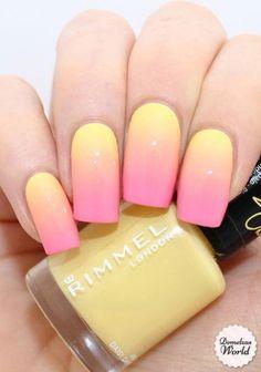 Rimmel - gradient nails ii nails, gel nails и gradiant nails Summer Acrylic Nails, Best Acrylic Nails, Spring Nails, Manicure Colors, Nail Colors, Manicure Ideas, Pink Manicure, Nagellack Design, Gradient Nails