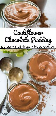 This Paleo Cauliflower Chocolate Pudding is the BEST way to sneak veggies into kids or adults. Just deep chocolate flavor and a silky-smooth texture, this nut-free, dairy-free chocolate pudding recipe… Paleo Dessert, Dessert Recipes, Dairy Free Chocolate Pudding Recipe, Keto Pudding, Lactose Free Diet, Gluten Free, Snacks Sains, Quick Snacks, Nut Free