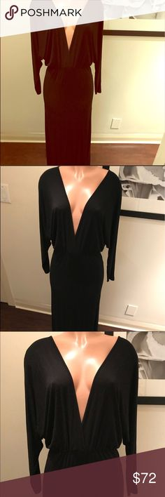 Long sleeved dolman gown/dress, plunging V neck YOUNG FABULOUS & BROKEmediumsolid blackdolman like long sleeved with a plunging V neck front & also the same on the back side... a low sexy V... one string on top to hold it all up ☺️ suuuuper long! I am almost 5'11 and it hits the ground on me! I have other long/tall girl dresses if interested please inquire ♥️ worn once! Super chic/super sexy! EUC Young Fabulous & Broke Dresses Maxi