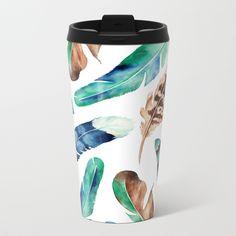 Blue Feather 1 Travel Mug by atelierkaori Blue Feather, Textile Design, Spoonflower, Travel Mug, Watercolor Art, Clip Art, Mugs, Metal, Tableware