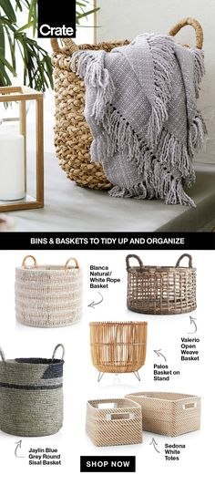 Tuck away all your unwanted clutter in stylish storage bins and baskets. Not only are they perfect for organization, but they add texture and design to any home. Boutique Interior, Organizing Your Home, Home Organization, Living Room Decor, Bedroom Decor, My New Room, Home And Living, Room Inspiration, Home Accessories
