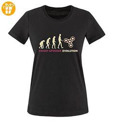 Comedy Shirts - Fidget spinner evolution - Damen T-Shirt - Schwarz / Beige-Fuchsia Gr. XS - Fidget spinner (*Partner-Link)