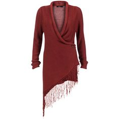 Burgundy, knitted and long cardi with turned sleeve, a loose front and fringes at the side. Style tip: Throw over your jeansshorts and tee. 100% acrylic.