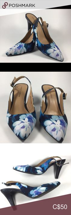"""Charles Jourdan Blue Floral Slingback Heel sz 35 Pre-owned """" excellent condition"""" Heels: Left shoe sling shifting to the left. Smoke and pet free home. Please view pictures for better description. Thank you for shopping. Plus Fashion, Fashion Tips, Fashion Design, Fashion Trends, Shoes Heels, Blue And White, Smoke, Floral, Pictures"""
